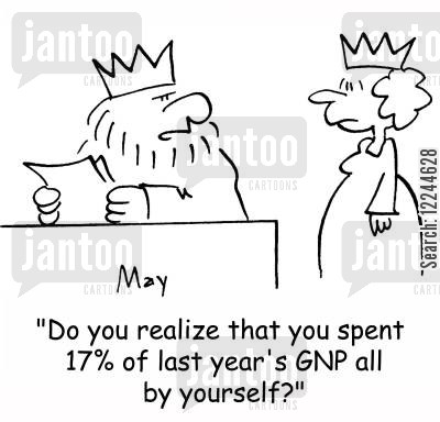 gnp cartoon humor: 'Do you realize that you spent 17 of last year's GNP all by yourself?'