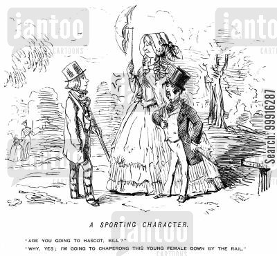 escorting cartoon humor: A small young swell chaperoning a tall lady to the races