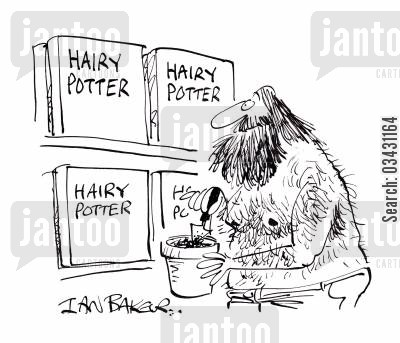 pottering cartoon humor: Hairy Potter.