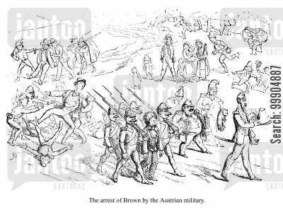 jones cartoon humor: The arrest of Brown by the Austrian military, scene 1.