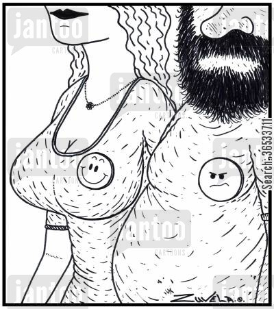 happy face cartoon humor: A happy smiley face on a large-breasted woman, and a not-so-happy Smiley face on a fat hairy man.