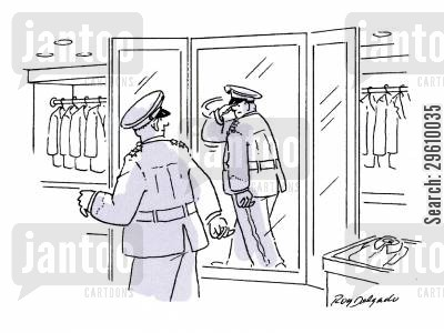 clothes shop cartoon humor: Saluting reflection.