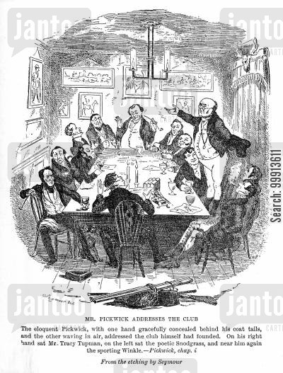 nathaniel winkle cartoon humor: Mr. Pickwick addresses the club