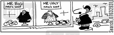 tall men cartoon humor: Mr Big Man's ShopMr Ugly Man's Shop.