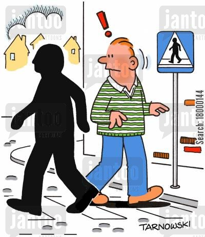 street signs cartoon humor: Man from the road sign crossing the street.