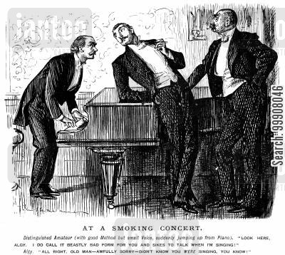 pianists cartoon humor: At a Smoking Concert.