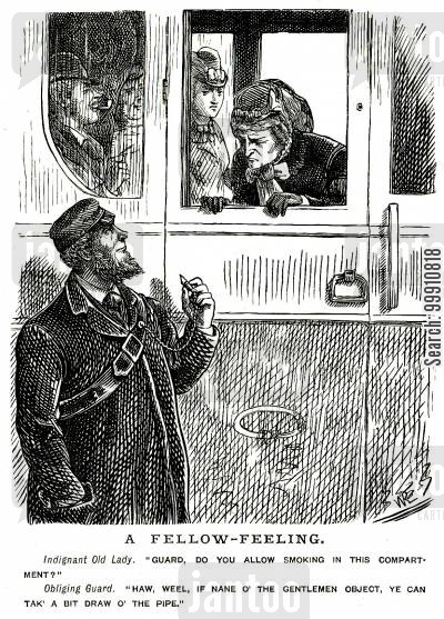train cartoon humor: Lady asking train guard if smoking is allowed
