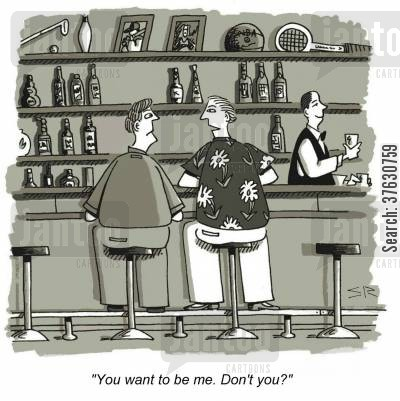 self love cartoon humor: 'You want to be me. Don't you?'