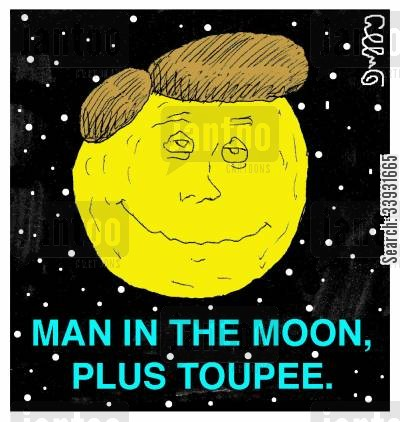 hairpieces cartoon humor: Man in the moon, plus toupee.