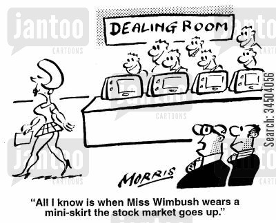 appealing cartoon humor: All I know is when Miss Wimbush wears a mini-skirt the stock market goes up.