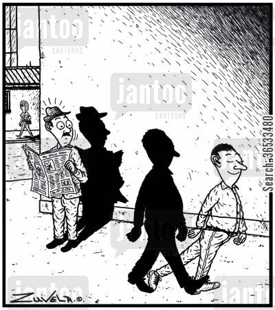 reverse cartoon humor: A man in the form of a shadow with his shadow in the form of a man.