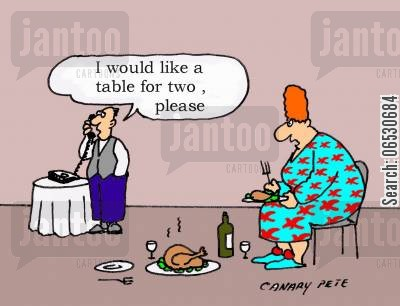 addages cartoon humor: I would like a table for two please.