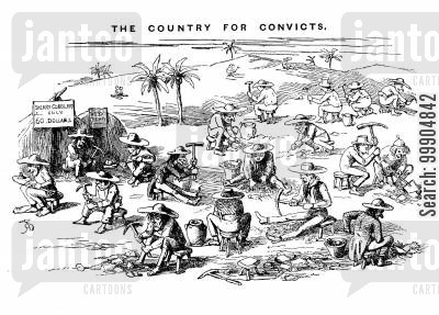 convict cartoon humor: The imaginary consequences of Punch's scheme for sending convicts to California.