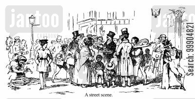 victorian people cartoon humor: A street scene.