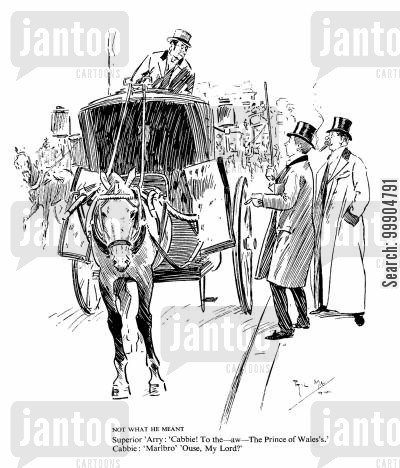 hansom cab cartoon humor: Not what he meant.