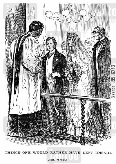 forced marriages cartoon humor: A bride and groom at the altar.