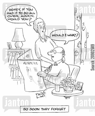 happy marriage cartoon humor: 'So soon they forget.'