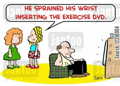 sporting injury cartoon humor: 'He sprained his wrist inserting the exercise DVD.'