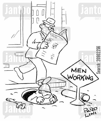 manhole cartoon humor: Men Working.