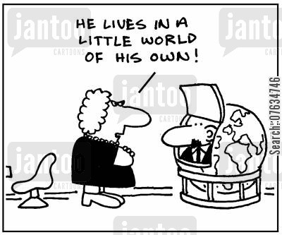 daydreamer cartoon humor: He lives in a little world of his own.
