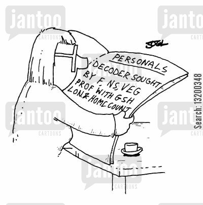 decoder cartoon humor: Personals: Decoder sought by F,NS,VEG,PROF with GSH
