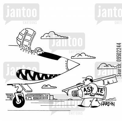 fighter jet cartoon humor: Man cleaning teeth of fighter jet with a giant toothbrush.
