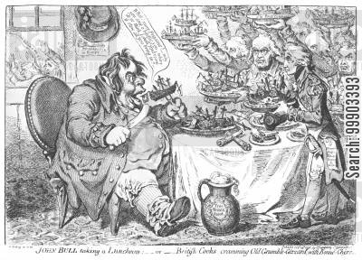 royal navy cartoon humor: John Bull Devouring the French Navy