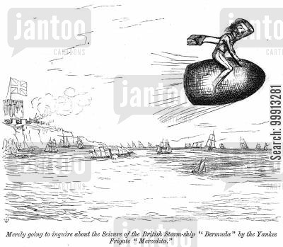 mercedita cartoon humor: 'Merely going to inquire about the Seizure of the British Steam-ship 'Bermuda' by the Yankee Frigate 'Mercedita''