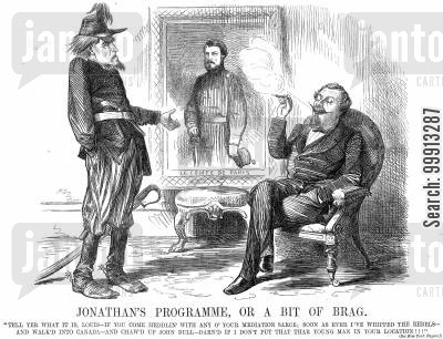 neutrality cartoon humor: Brother Jonathan tells Napoleon that he will enstate Le Comte De Paris as king once he has won the Civil War