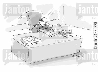 catapult cartoon humor: Outgoing box is a catapult.