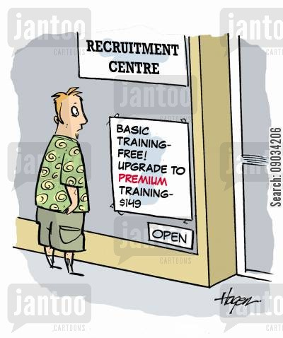 premium cartoon humor: Recruitment Centre.