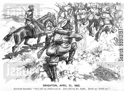 military exercise cartoon humor: Volunteer field day at Brighton, April 21, 1862