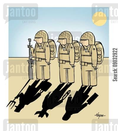 civilian lives cartoon humor: Shadows showing soldiers from different walks of life.