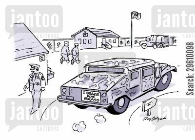 armored vehicle cartoon humor: I brake for brass.