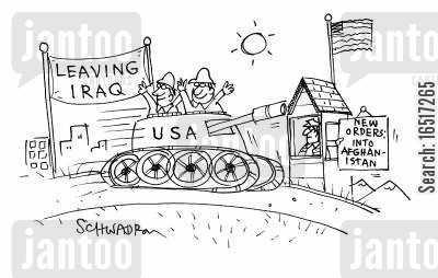 check point cartoon humor: New orders: Into Afghanistan.