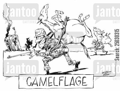 camoflaged cartoon humor: Camelflage - Soldiers with camels strapped to their backs.