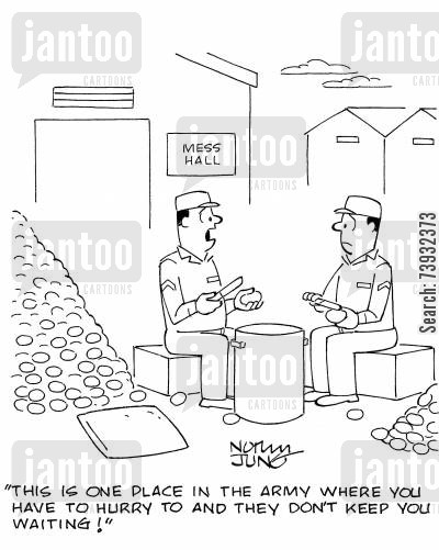 kp cartoon humor: 'This is one place in the army where you have to hurry to and they don't keep you waiting!'