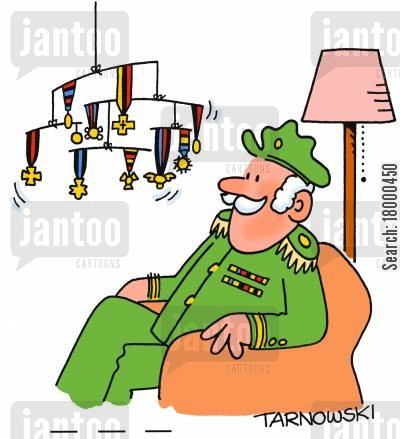 generals cartoon humor: Army general with a mobile made of medals.