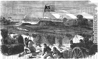 union cartoon humor: Siege of Vicksburg - Sappers Approach Confederate Fortifications
