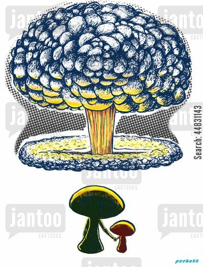 nuclear explosion cartoon humor: Mushroom Crowd'- A take on atomic energy.