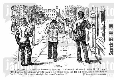 victorian officers cartoon humor:  A Dilemma