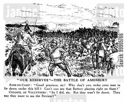 volunteer cartoon humor: Our Reserves - The Battle of Amesbury