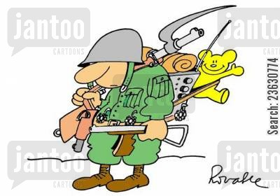 armed force cartoon humor: Soldier with a teddy bear.