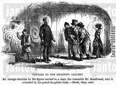 dickens cartoon humor: Visitors to the shooting gallery