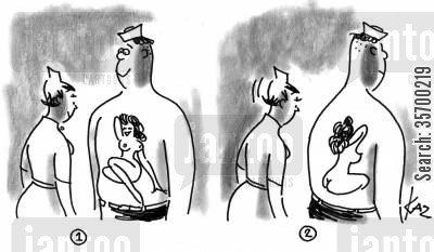 back view cartoon humor: Front and back tattoos.
