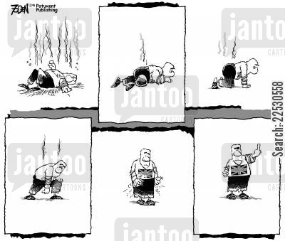reactions cartoon humor: London bombings - British resolve.