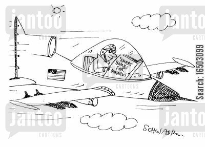 smart bombs cartoon humor: 'Smart Bombs For Dummies.'