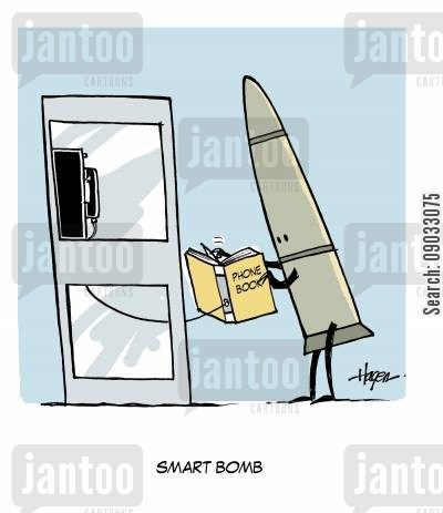 phone book cartoon humor: Smart Bomb.