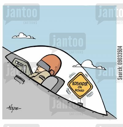fighter pilots cartoon humor: Sidewinder on board.