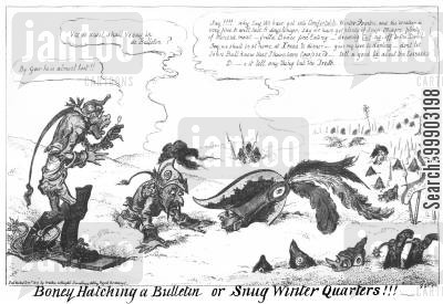 napoleonic wars cartoon humor: Russian Winter Stalls French Advance